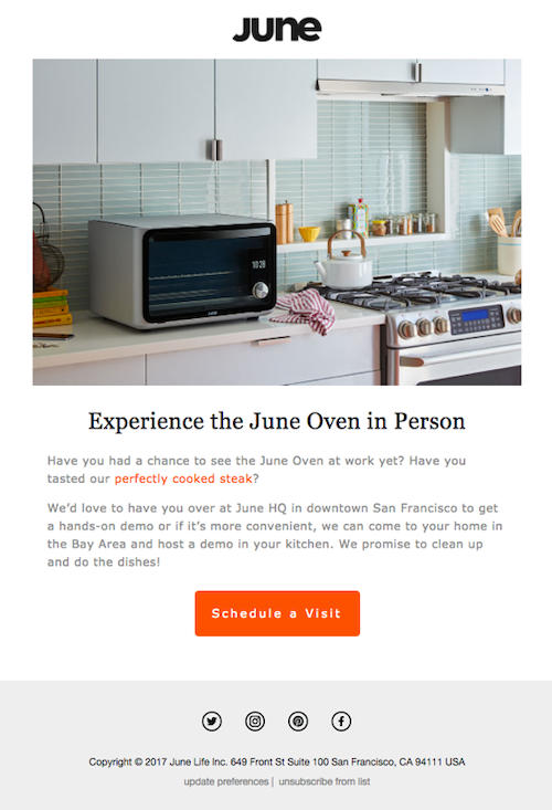 email marketing automation email demo example june