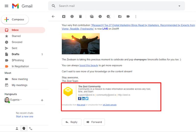 e-mail aláírás marketing trendjei 2021-ben 8. példa