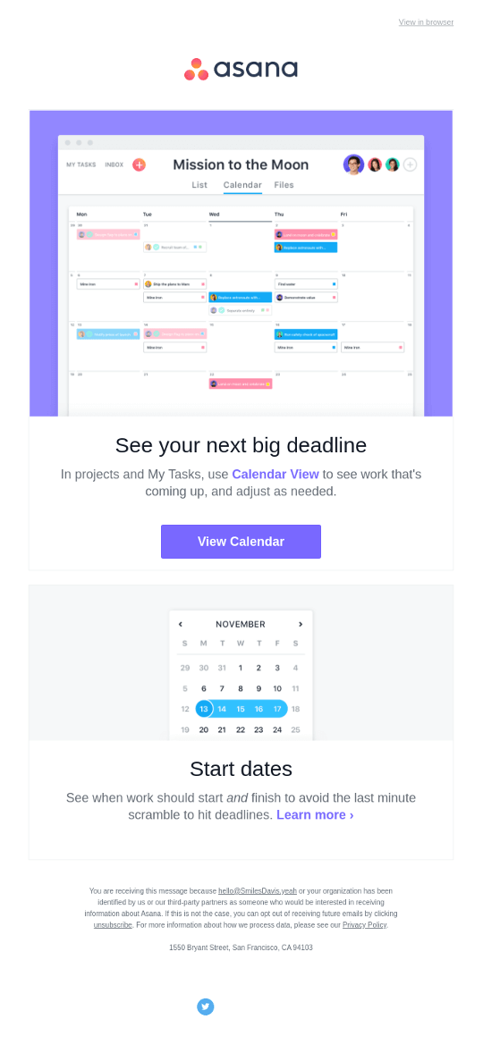 email copywriting examples asana email