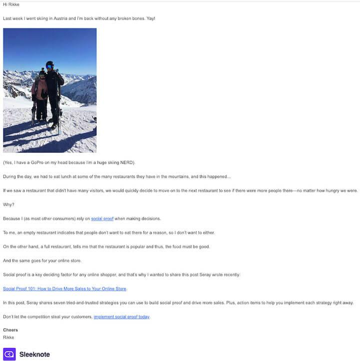 example of storytelling email by sleeknote