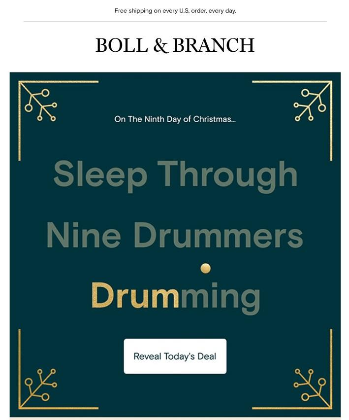 email marketing example from Boll and Branch