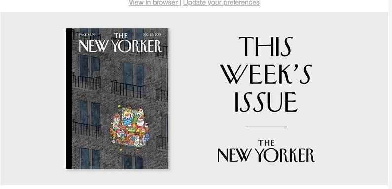 email marketing example from the New Yorker
