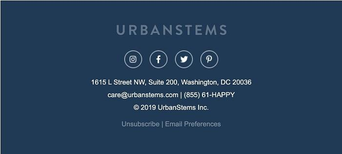 email marketing example from Urban Stems