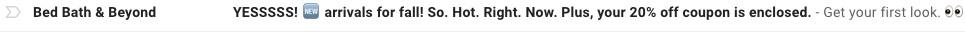 ecommerce email subject line from Bed Bath & Beyond