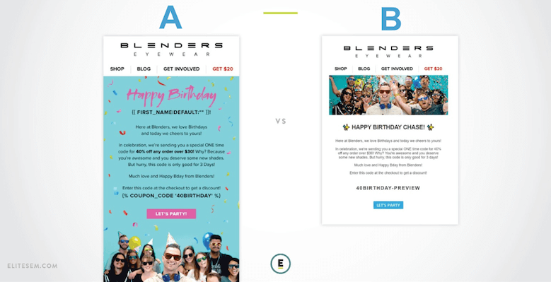 email marketing ab test example