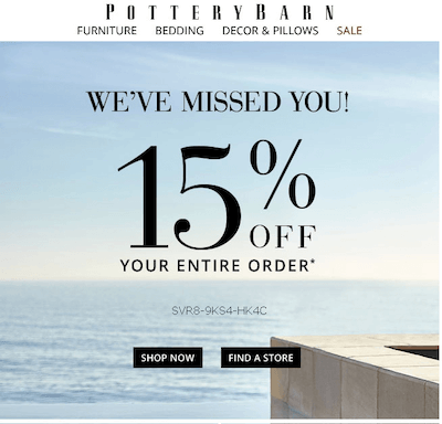 pottery barn reengagement email example