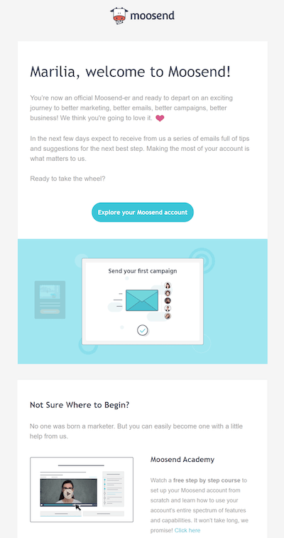 welcome email example by moosend