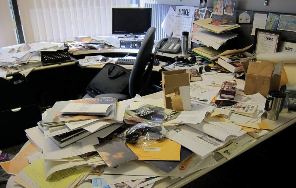 image of messy desk