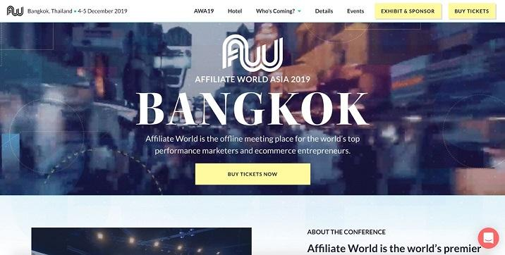event landing page for Affiliate World Asia