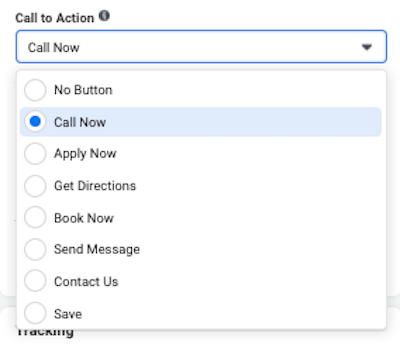 facebook click to call ads Reach CTA Button call now