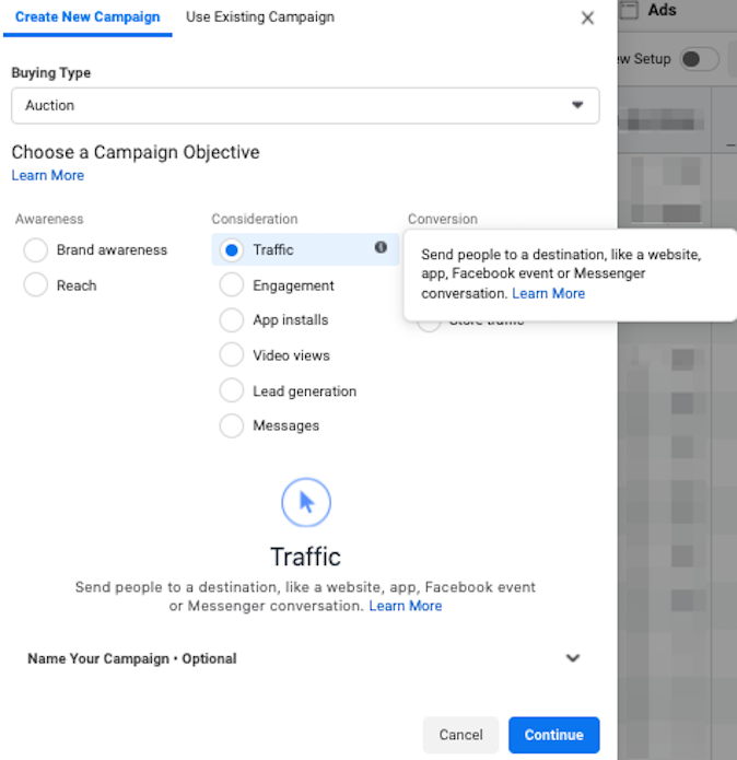 facebook click to call ads create website traffic campaign