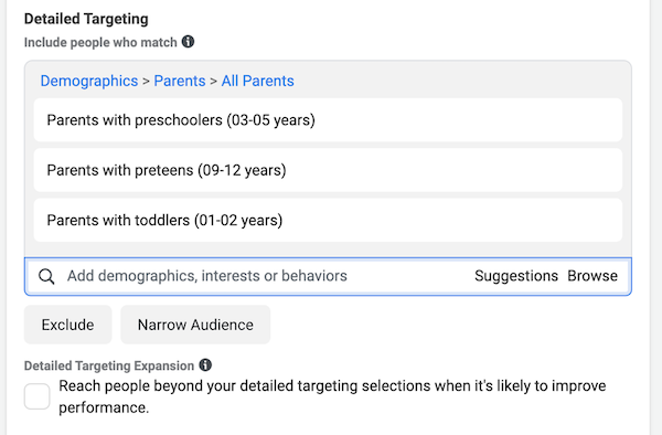 facebook local awareness ads detailed targeting