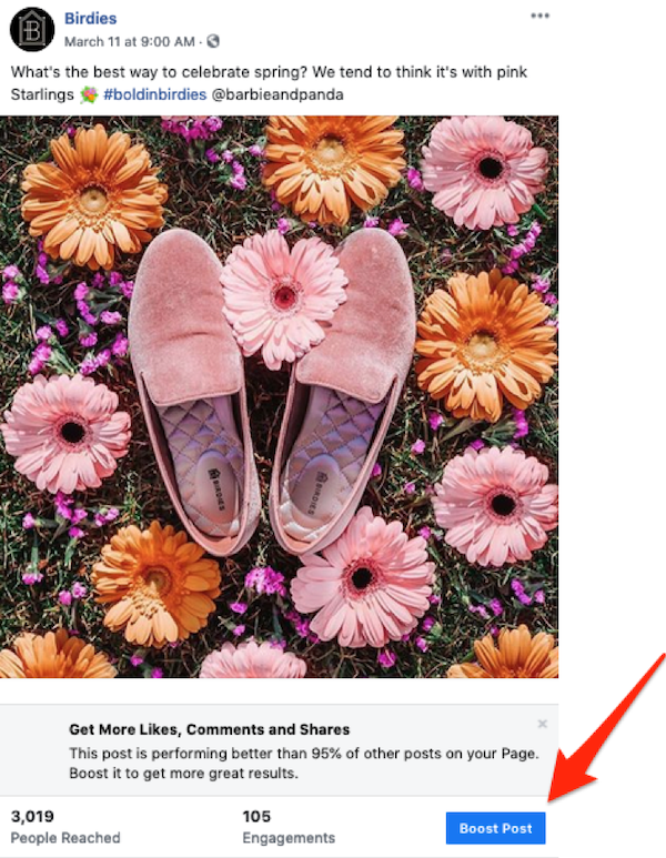 facebook sponsored posts boost post