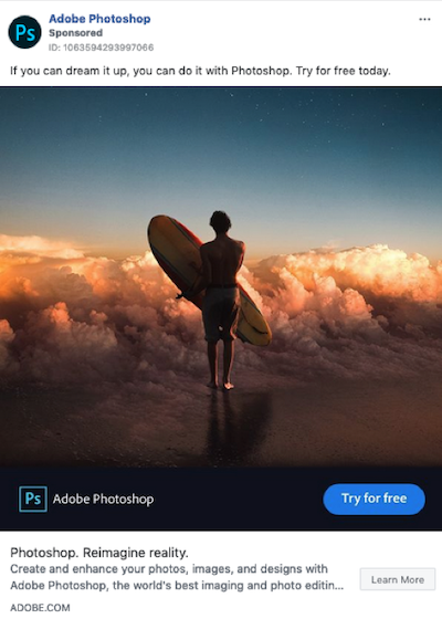 facebook sponsored posts example adobe photoshop
