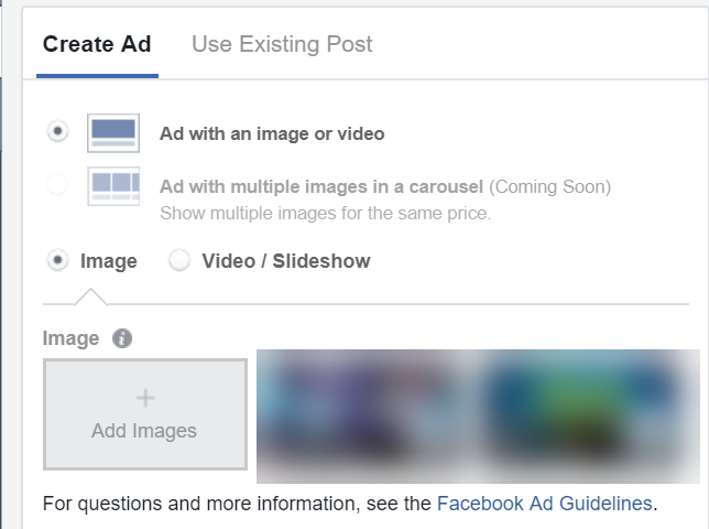 facebook dynamic ad creative interface