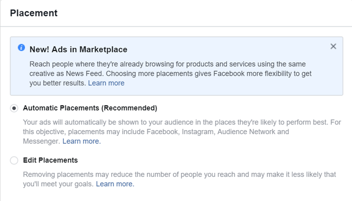 select automated placements for dynamic facebook creative ads