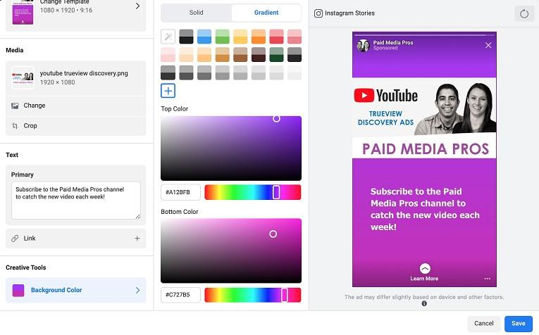 Facebook ad placements background color with gradient