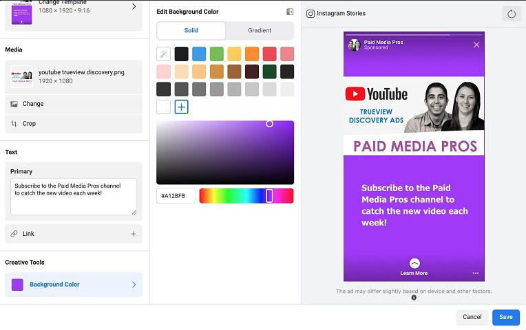 Facebook ad placements background color