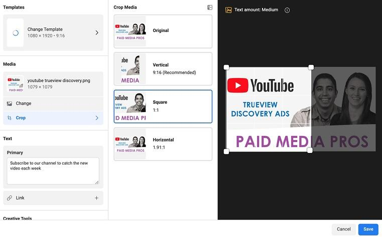 Facebook ad placements media option example