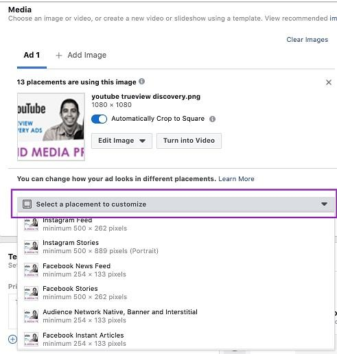 select option to customize for Facebook ad placements