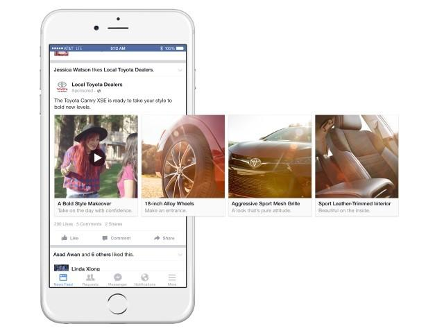 Facebook carousel video ad example