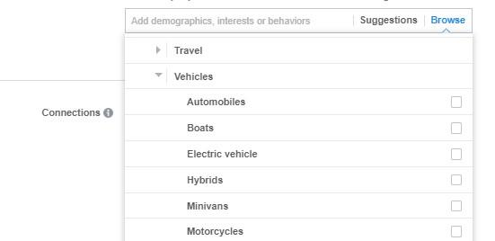 "Facebook ad targeting by hobby ""vehicles"""
