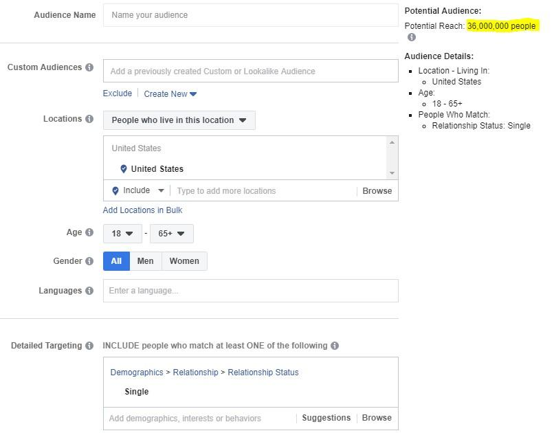"""Facebook ad targeting by relationship status """"single"""""""