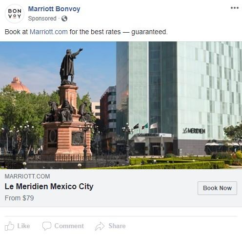 Facebook ad example for hotel