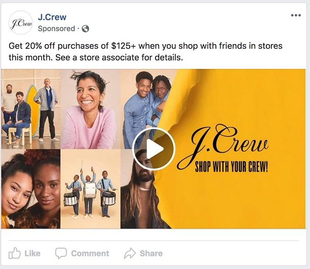 Facebook ad tranparency ecommerce strategy Jcrew ad