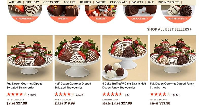 Facebook ad transparency ecommerce strategy Shari's Berries product page