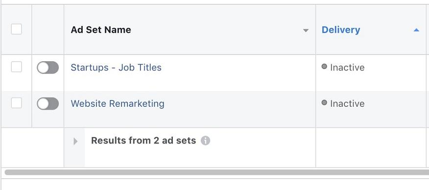 Facebook ads account audit ad set name screen