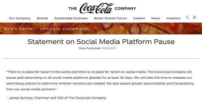 Coca Cola's Facebook boycott statement