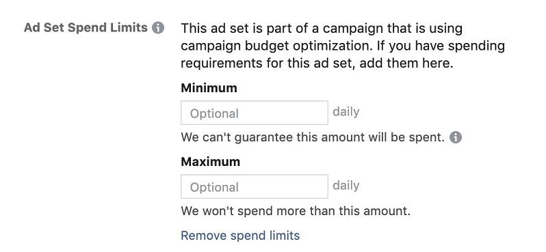 Facebook ads ad set spend limit options