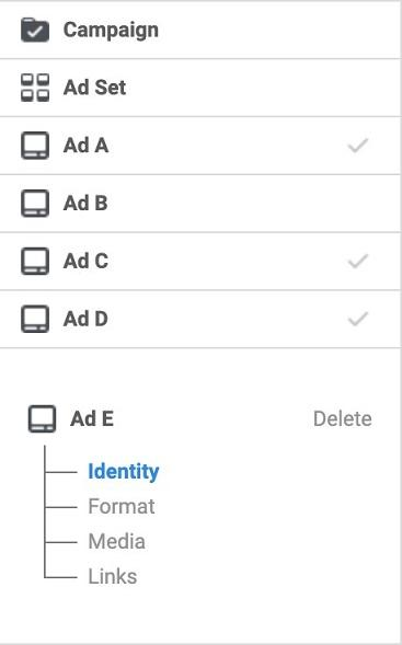 Facebook ad variants with split testing