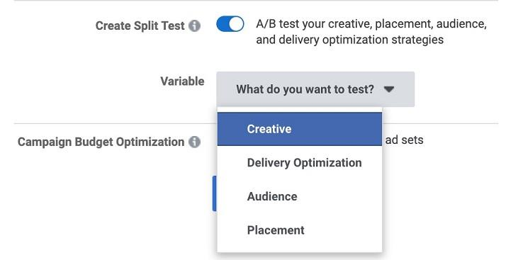Facebook ads split testing drop-down