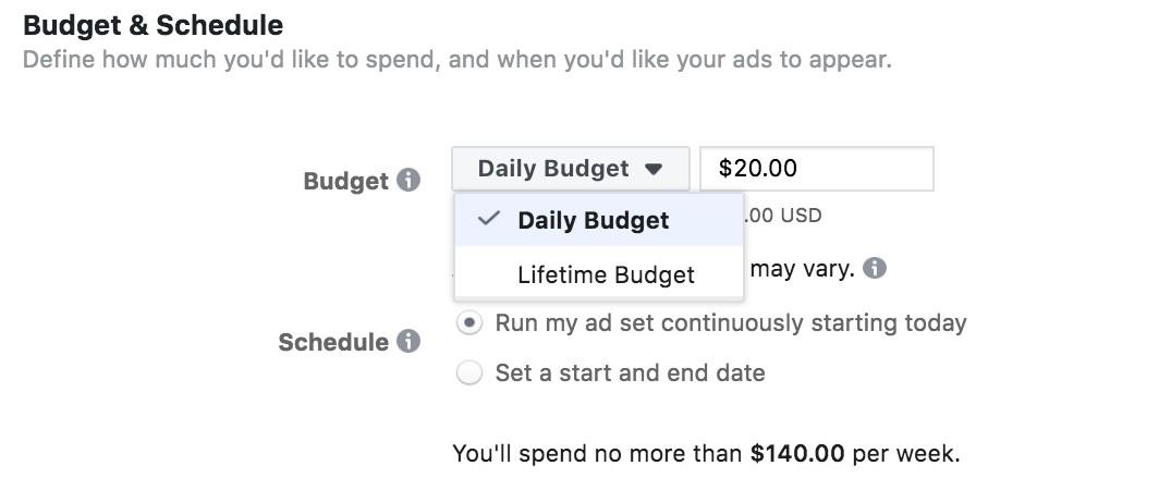 Facebook Ads daily vs lifetime budgets