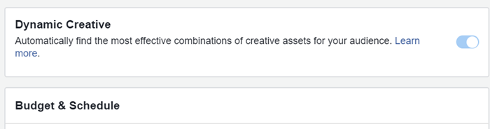 facebook ads implement dynamic creative in an ad set