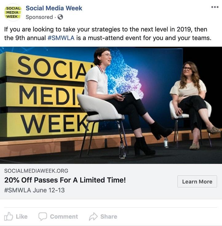 Facebook event ad example