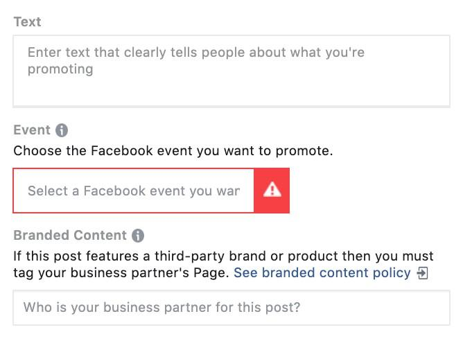 select your event to set up Facebook ad