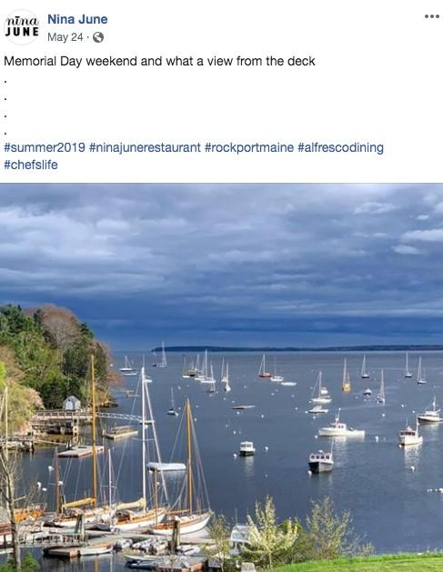 Facebook ad promoting unique waterside dining