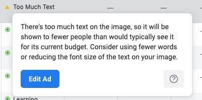 Facebook ads text length not approved