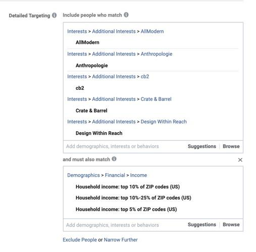 Facebook advertising for small business detailed targeting options based on financial income