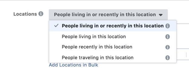 Facebook advertising geotargeting options