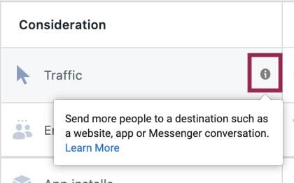 Facebook advertising consideration options