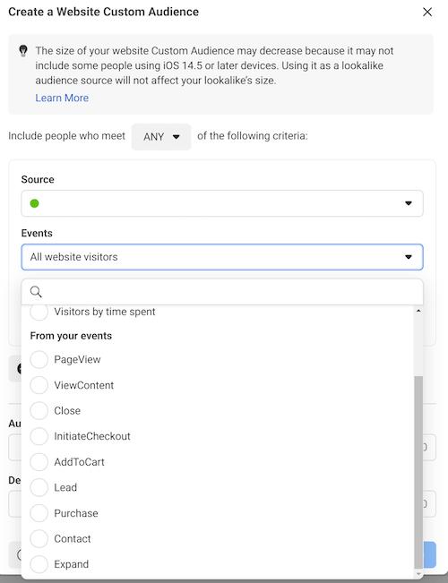 facebook ads website custom audience setup tab