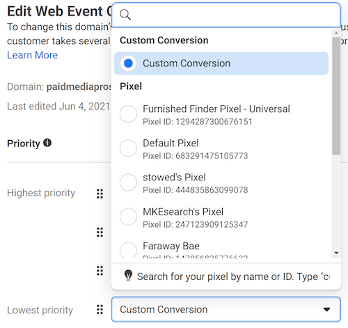 facebook ads custom conversion tab for aggregated event measurement