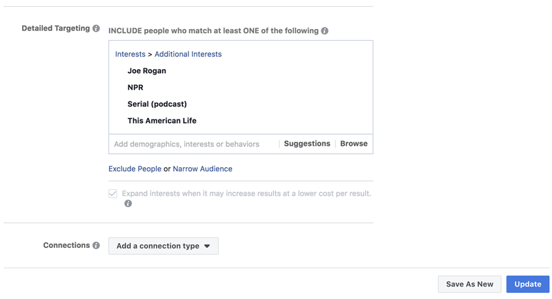 example of using facebook ads to target podcast fans