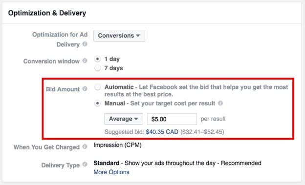 Facebook campaign budget optimization options for Optimization & Delivery