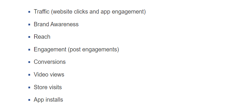 Facebook Canvas Ads Objectives