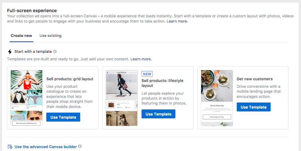 Facebook Canvas Ads Template